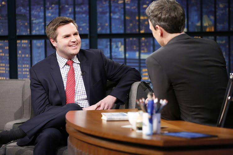 Author J.D. Vance during an interview with host Seth Meyers