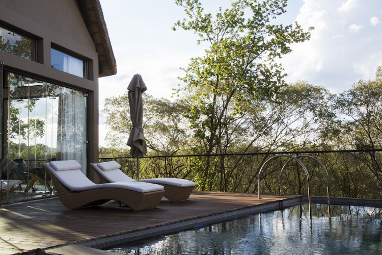 Relax on the deck of Moledi Gorge's presidential suite.