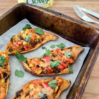 Fully Loaded Mexican Sweet Potato Skins.