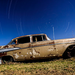 Forgotten in Time by Jim O'Neill - Transportation Automobiles ( sky, cars, texas, starscapes, long exposure, old cars, night sky, nightscapes )