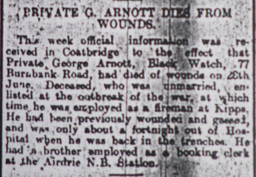 George Buchanan Arnott newspaper clipping