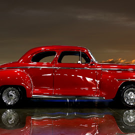 Red by JEFFREY LORBER - Artistic Objects Toys ( hot rod, vintage car, red car, rusrt 'n chrome, classic car, lorberphoto )