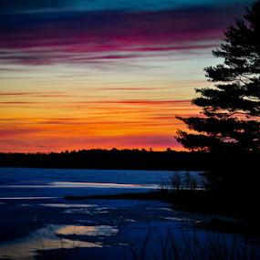Winter sunset NE Wisconsin by Michael Haagen - Landscapes Sunsets & Sunrises ( snow, winter, ice, lake,  )