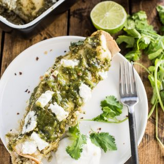 Green Chicken Enchiladas with Arroz Verde and Charred Tomatillo Sauce