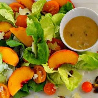 Butter Lettuce Peach Salad with Peach Pistachio Vinaigrette.
