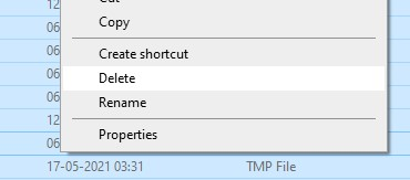 Deleting all the files in the temp folder