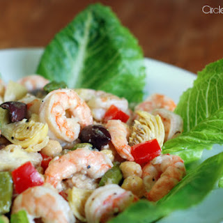 Mediterranean Shrimp Salad with Artichoke Hearts and Chickpeas.