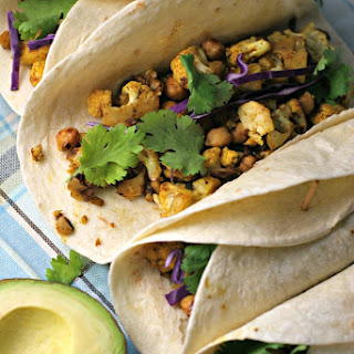 Curry Cauliflower and Chickpea Tacos.