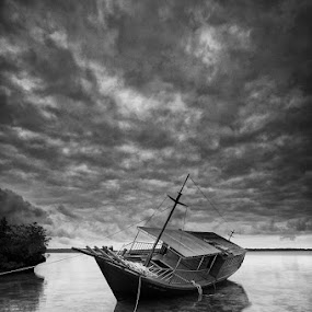 Unfinished Boat by Edo Kurniawan - Landscapes Waterscapes