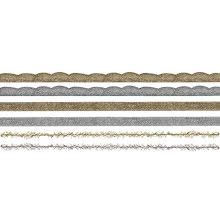 Tim Holtz Idea-Ology Metallic Trimmings 1yd 6/Pkg - Gold & Silver  UTGÅENDE