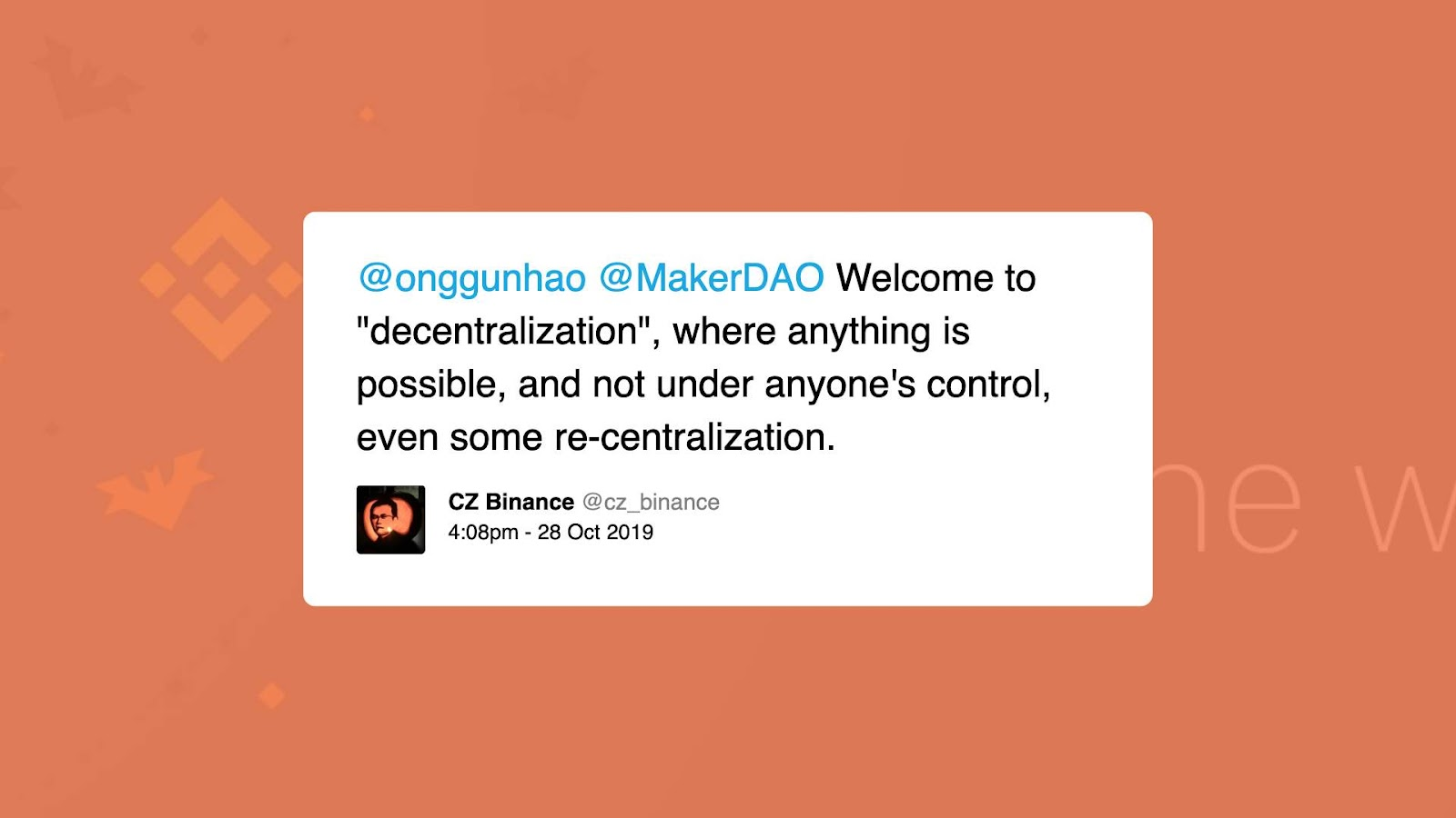 Binance CEO Tweet
