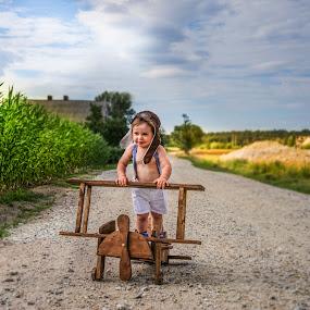 Little aviator by Piotr Owczarzak - Babies & Children Children Candids ( fly, aircraft, summer, children, cute, boy )
