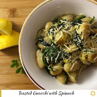 Toasted Gnocchi with Spinach.