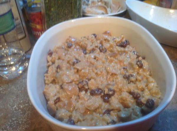 Pour bread mixture into prepared casserole dish. Bake in preheated 350 degrees F. oven...