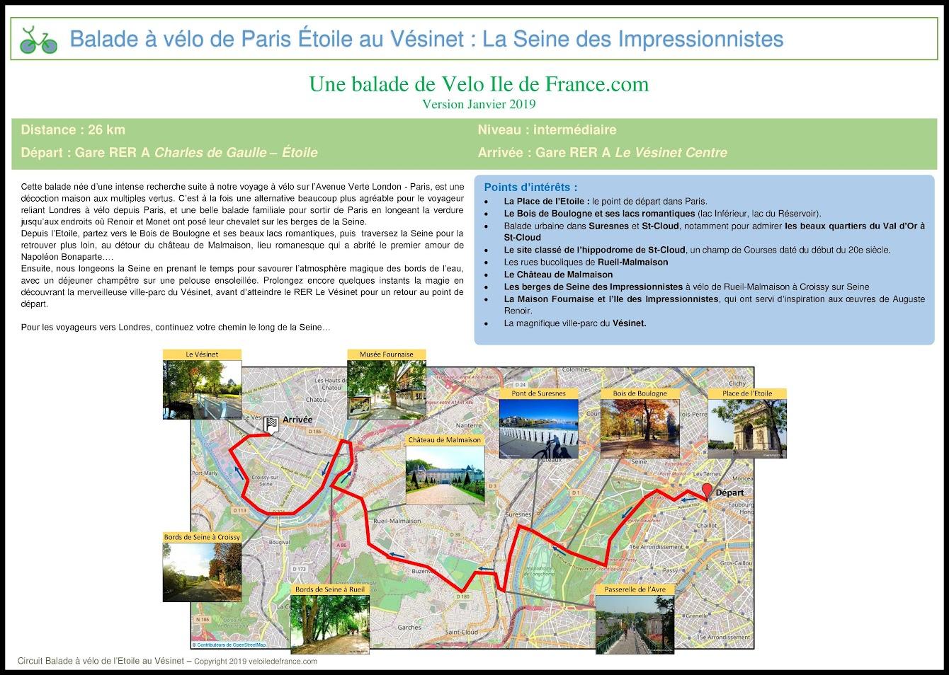 Couverture - Balade à vélo de Paris Etoile au Vésinet, la Seine des Impressionnistes par veloiledefrance.com