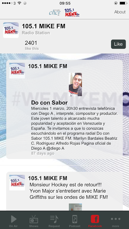 MIKE FM 105.1 – Capture d'écran