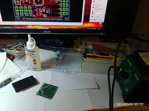 Photo: Preparing the control board for soldering.