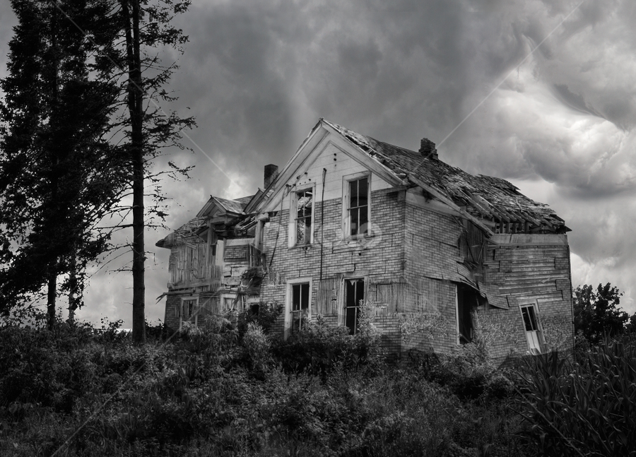 Aftermath of the Storm by Mike Trahan - Buildings & Architecture Homes ( home, building, b&w, derelict, storm, abandoned house )