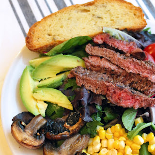 Summer Harvest Steak Salads + Garlic Bread
