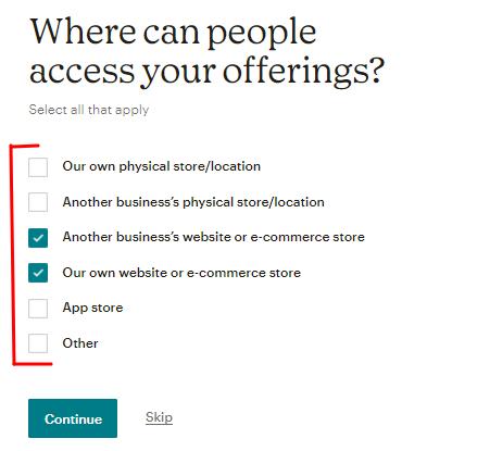 opções de onde as pessoas podem encontrar os produtos/serviços do usuário