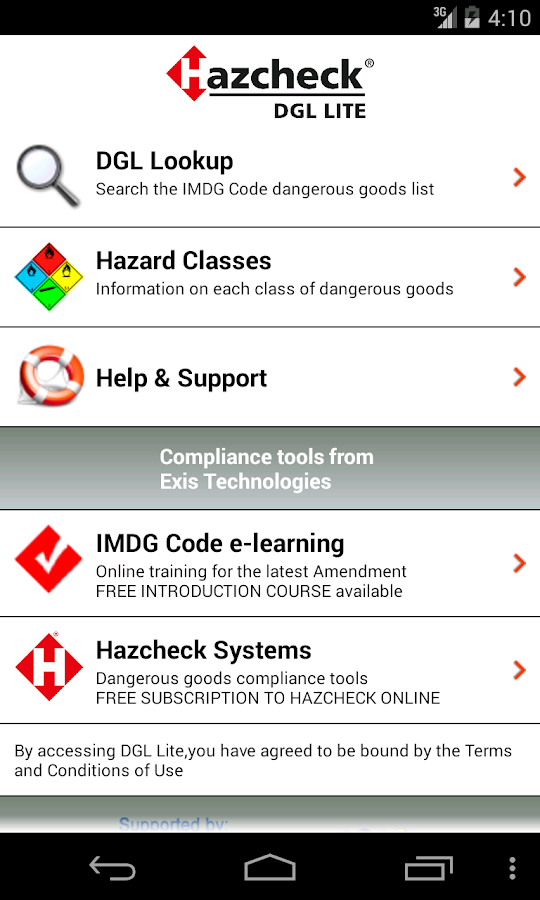 Hazcheck DGL Lite- screenshot