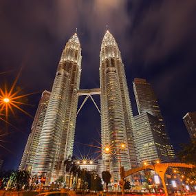Festive and Magnificent Twin Towers by Hendrik Priyanto - Buildings & Architecture Public & Historical ( twin towers, night, malaysia, cityscape, landscape )