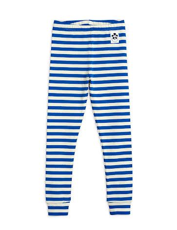Mini Rodini Stripe Ribbed Leggings Blue