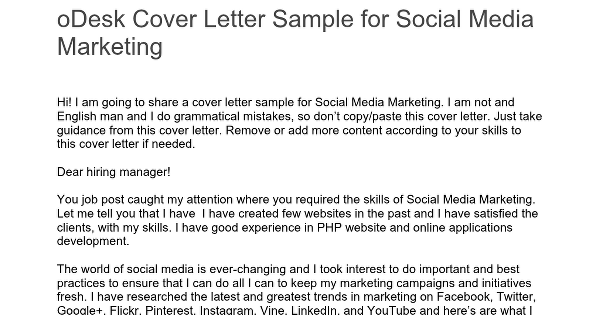 ODesk Cover Letter Sample For Social Media Marketingdocx
