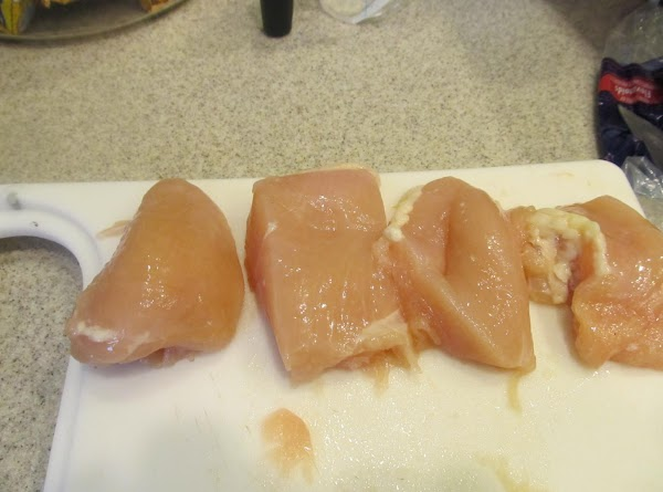 Clean the breast of all excess skin and fat.  Lay on cutting board...