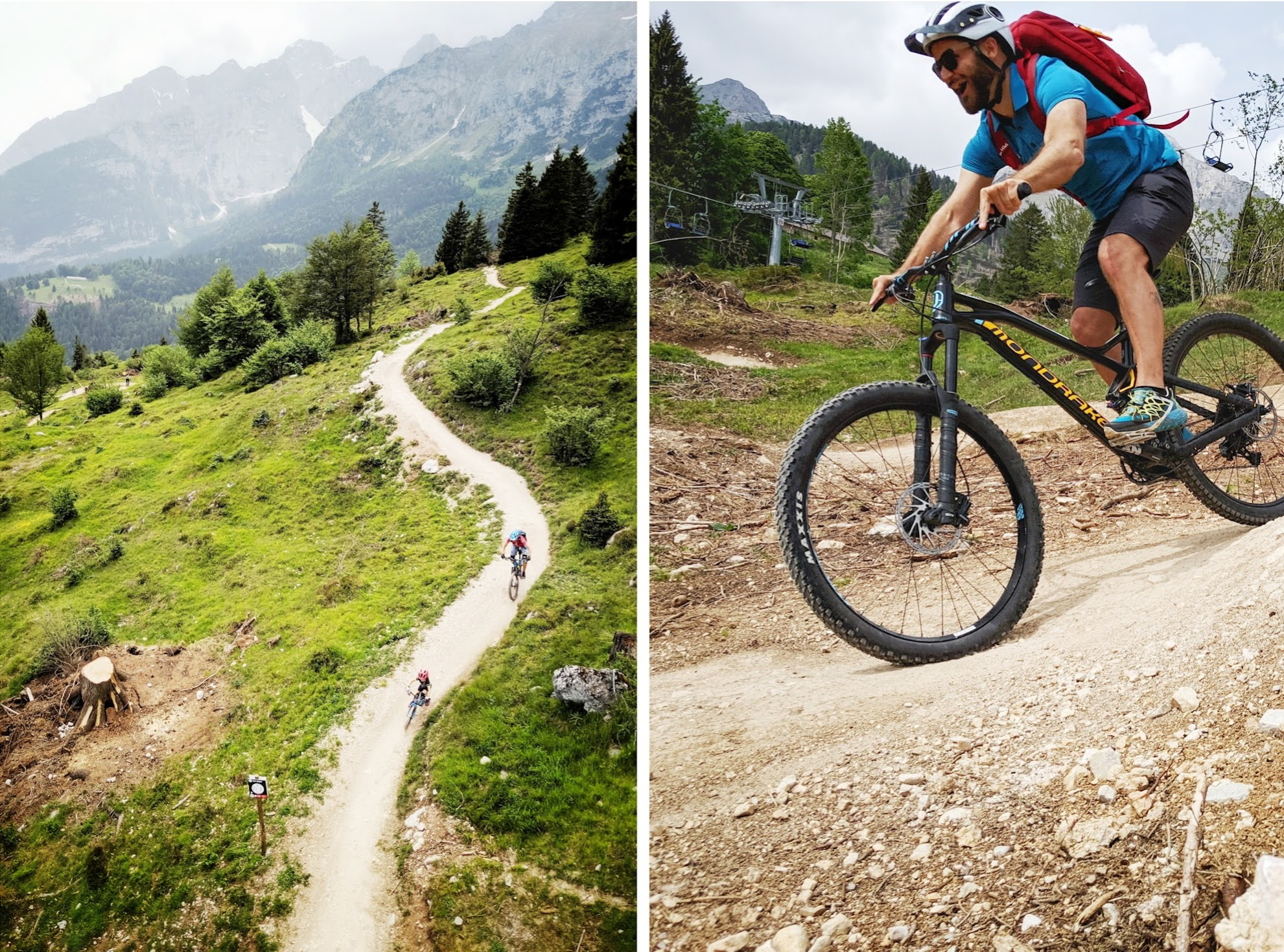 Mountain biking in the towns of Andalo, Dolomiti Paganella.