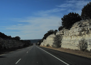 Photo: I love how Californians pave winding roads around mountains, but Texans just cut right through them =)