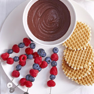 Hazelnut Chocolate Fondue with Berry Skewers