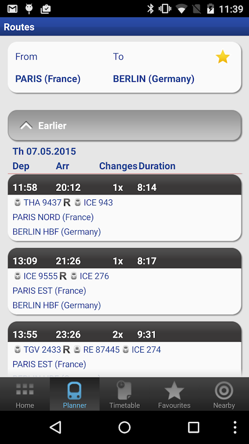 Rail Planner  Eurail/InterRail: screenshot