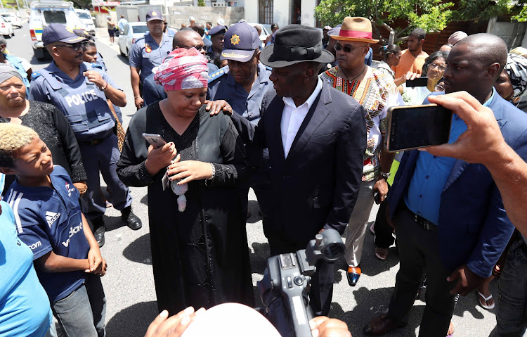 Police Minister Bheki Cele interacting with Bokmakierie residents