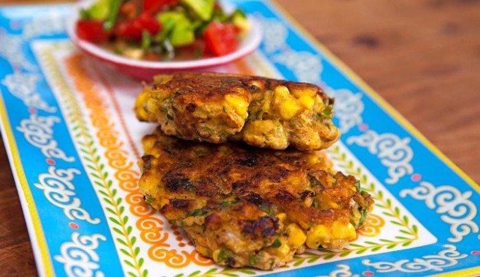Corn and Coriander Fritters with Avocado Salsa Recipe