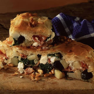 Bacon, Spinach and Potato Filo Pie.