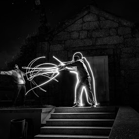 CBT by Carlos Kiroga - Black & White Abstract ( exposure, friends, black and white, fight, trail, action, night, sangoku, long, people, light, photography )