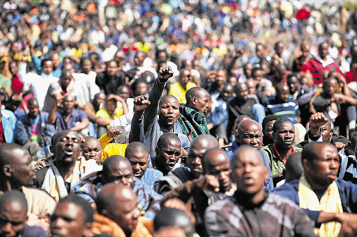 Empty promises have cost the ANC and trade unions the trust of many of their constituents, some of whom, such as the Marikana strikers, have turned their frustration into violence Picture: ALON SKUY