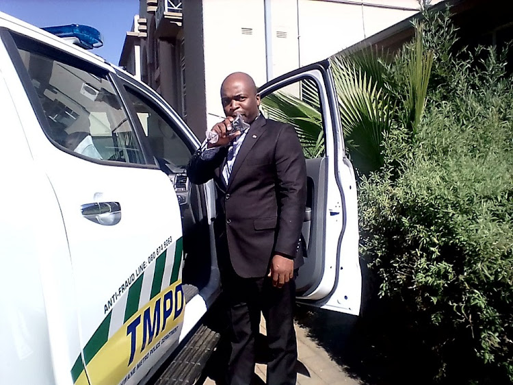 Tshwane mayor Solly Msimanga with one of the 103 off-road vehicles he handed over to the Tshwane metro police department.