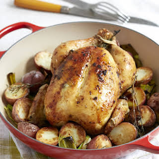 Whole Roasted Chicken with Potatoes and Leeks.