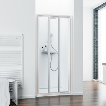 Porte de douche coulissante en niche, 80, 90, 100 ou 110 cm, Phoenix III, blanc