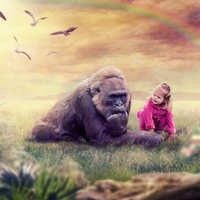 A Friend In Need by Shaun Poston - Digital Art People ( animals, painterly, fine art, gorilla, rhyme poston, the mystical world of rhyme, composite )