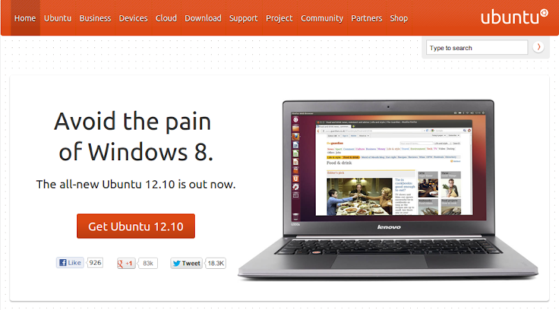 "Photo: ""Avoid the pain of Windows 8"" :D #ubuntu"