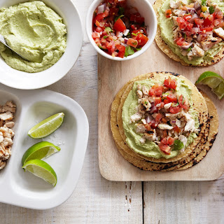 Grilled Chicken Tacos with Avocado Goat Cheese Sauce.