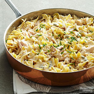 Lemon-caper Tuna and Noodles With Alfredo.