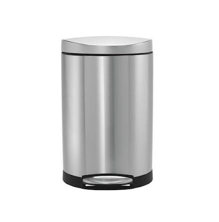 Semi-rund pedalhink Simplehuman 10 liter,borstat rostfritt stål
