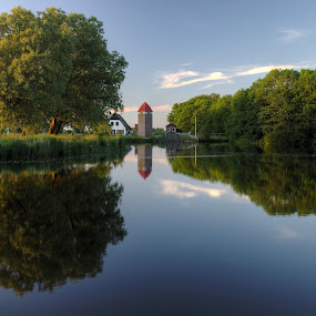 Municipal park Maalwater at sunset by Mike Bing - City,  Street & Park  City Parks ( water, reflection, heiloo, park, maalwater, sunset, holland, lake, pond )