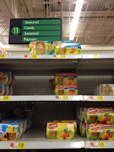 Photo: The stock supply was very low on Del Monte Fruit Cups, so customers would be limited in their choices. Not sure if this is because it's not being stocked sufficiently or if everyone today was buying them!