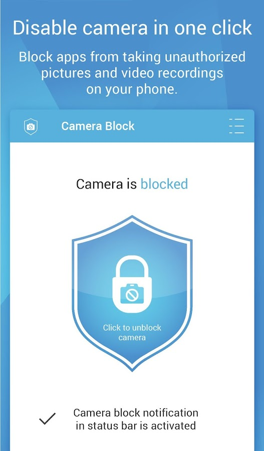 Camera Block - Anti spy-malware- screenshot