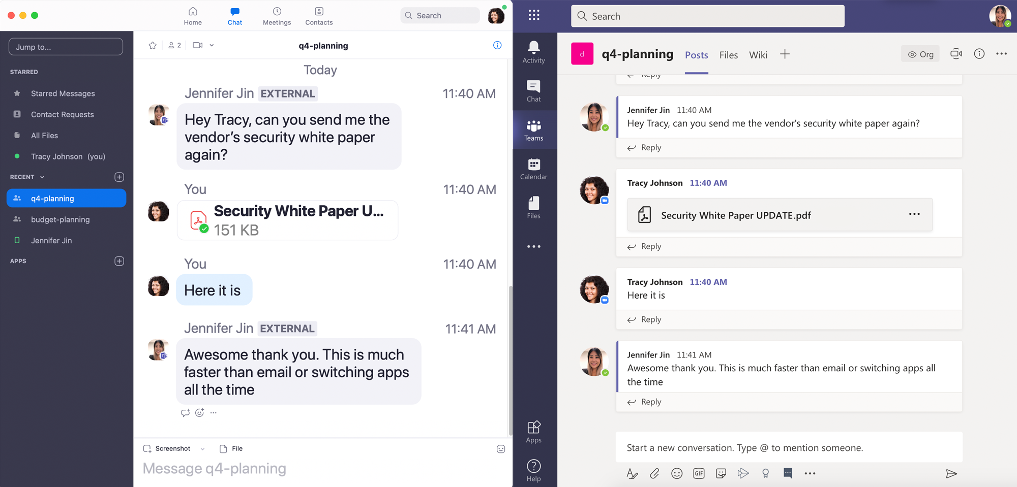 Microsoft Teams and Zoom message interoperability